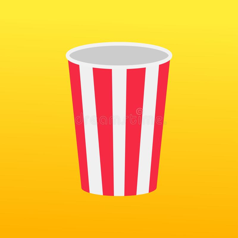 Popcorn om doos Lege verpakking Het pictogram van de filmbioskoop in vlakke ontwerpstijl Pop graanmalplaatje Gele Gradiëntachterg royalty-vrije illustratie