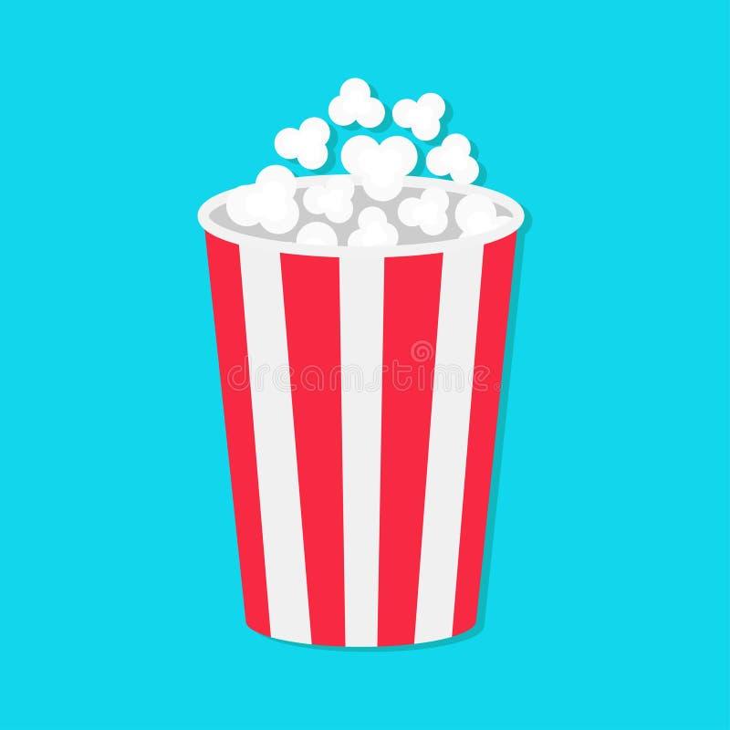 Popcorn om emmerdoos Het pictogram van de filmbioskoop in vlakke ontwerpstijl Het Pop graan knallen Achtergrond voor een uitnodig vector illustratie