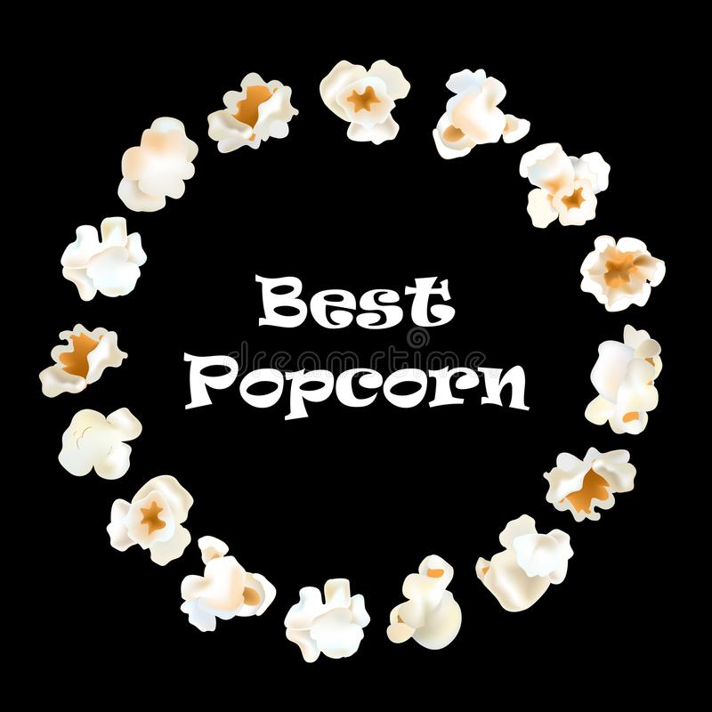 Popcorn om kader vector realistische illustratie vector illustratie