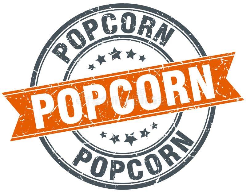 popcorn om oranje grungy geïsoleerde zegel stock illustratie
