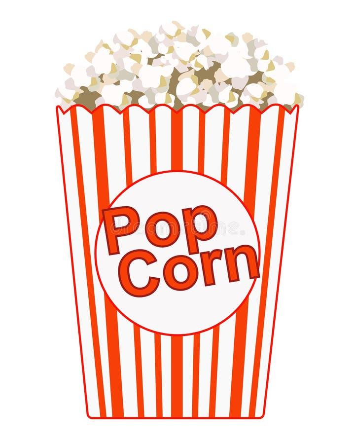 Popcorn Pappers- p?se med inskriften - popcorn Gjort randig rött med den vita påsen med popcorn F?rgvektorbild vektor illustrationer