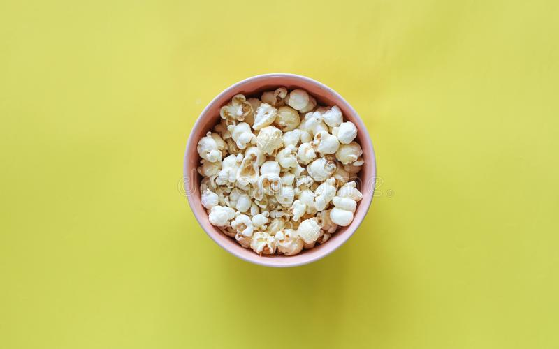 Popcorn pattern on background. Top view royalty free stock photo