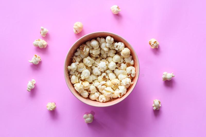 Popcorn pattern on background. Top view stock photos