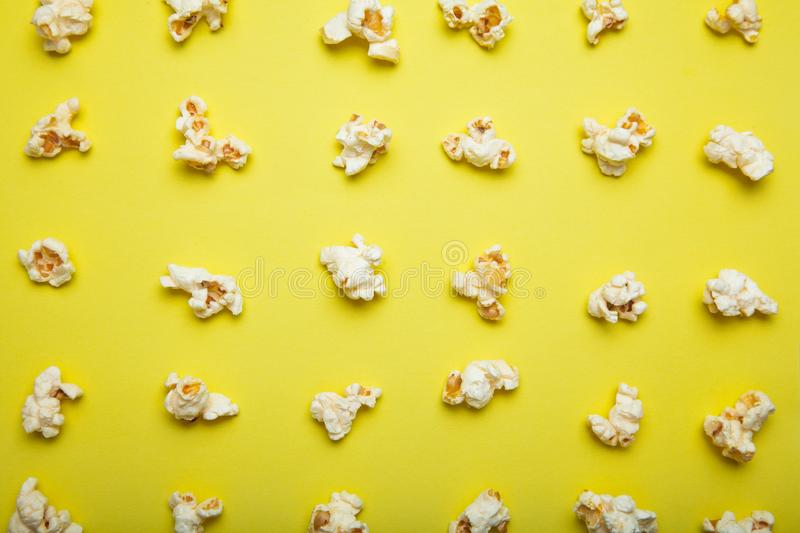 Popcorn pattern on yellow background royalty free illustration