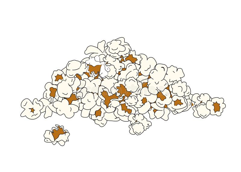 Popcorn pile isolated on white vector illustration