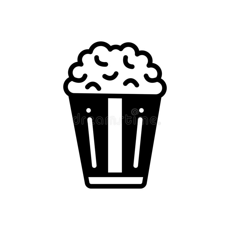 Black solid icon for Popcorn, food,  corn and snack. Black solid icon for Popcorn, crunchy, unhealthy, food,  corn and snack royalty free illustration