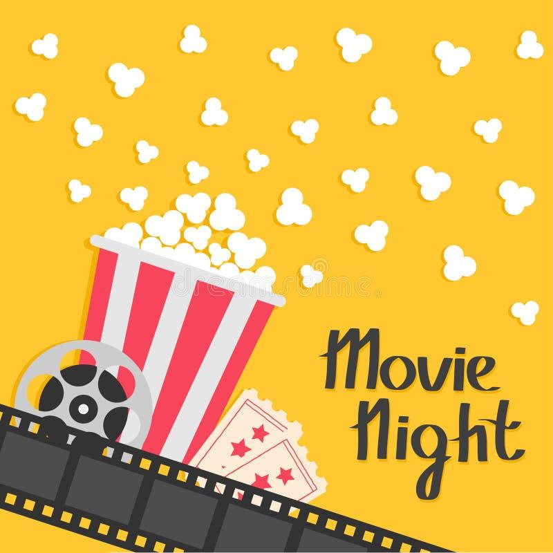 Popcorn popping. Big movie reel. Ticket Admit one. Three star. Cinema movie icon in flat design style. Film strip border. Red yellow strip box. Yellow stock illustration