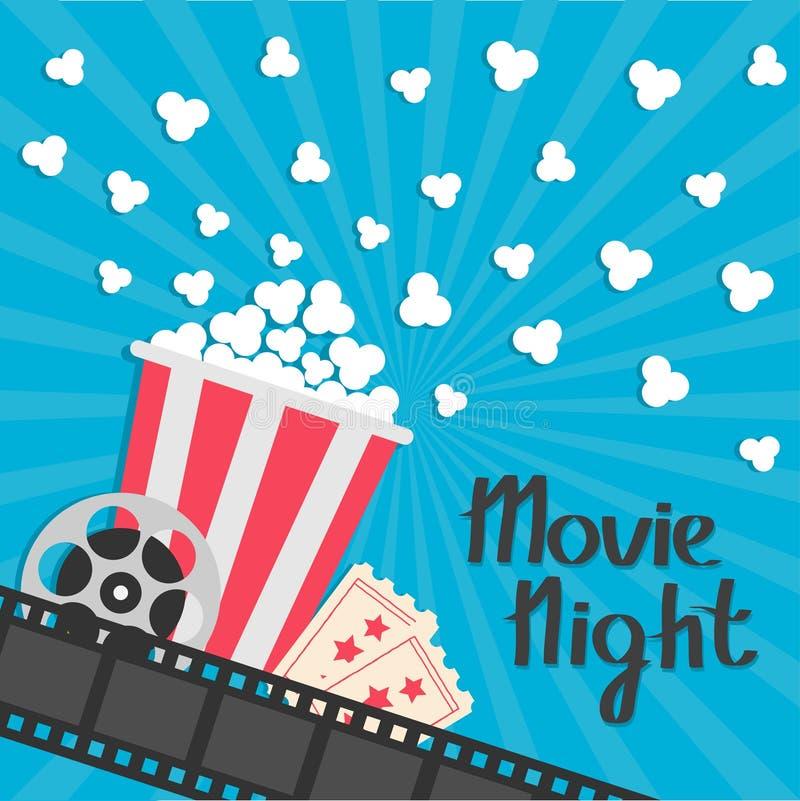 Popcorn popping. Big movie reel. Ticket Admit one. Three star. Cinema movie icon in flat design style. Film strip border. Red yell stock illustration