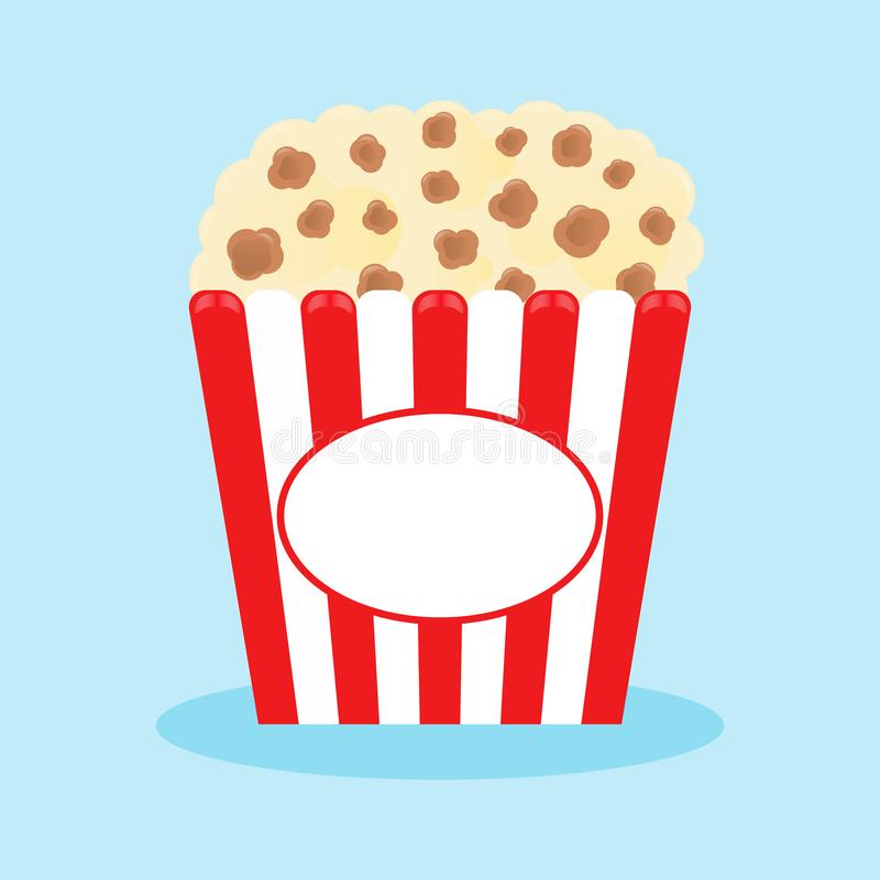 Popcorn popping in a red striped box. Cinema movie night icon in flat design style. Vector royalty free illustration