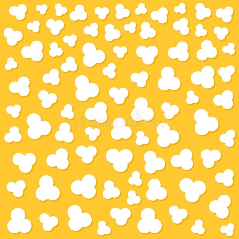 Popcorn popping. Top air view. Cinema movie night sign symbol. Tasty food. Flat design style. Yellow background. Popcorn popping. Heart shape frame. Cinema stock illustration
