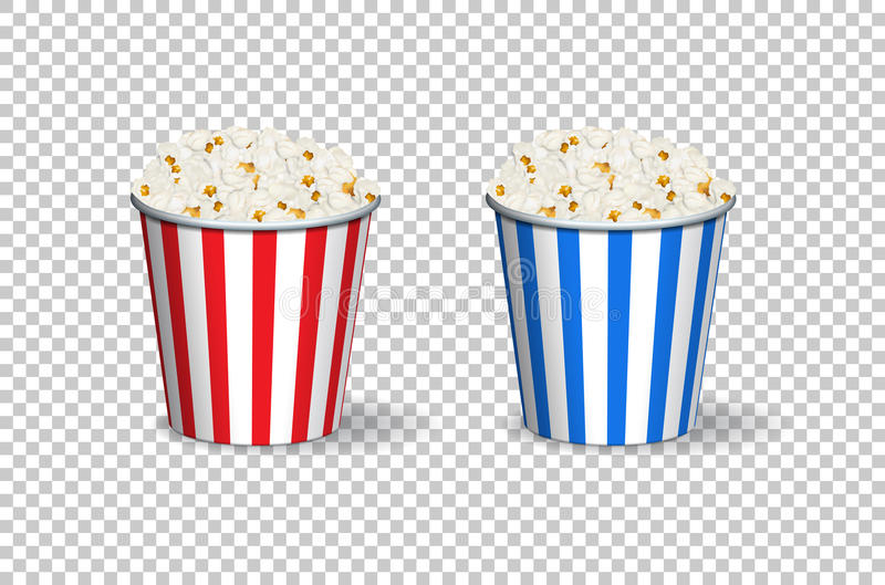 Popcorn red and blue buckets on transparent background. Vector. stock illustration