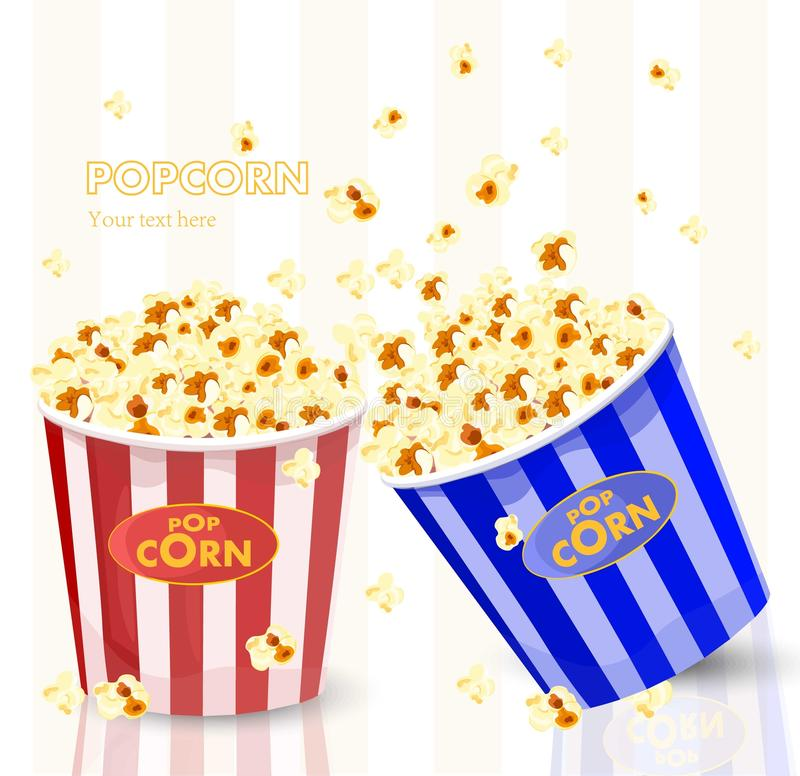 Popcorn in red and blue striped bucket boxes. Popcorn exploding. Vector royalty free illustration