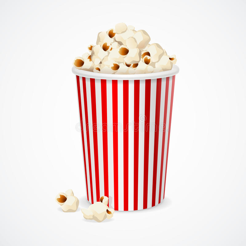 Popcorn in red and white cardboard box for cinema. Vector. Illustration stock image
