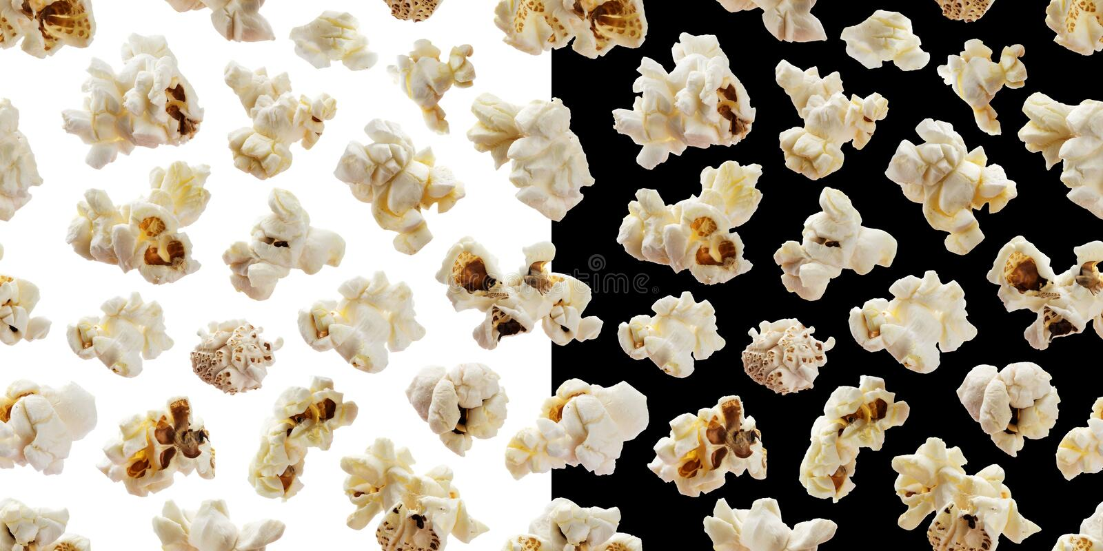 Popcorn seamless pattern. Pop corn on white and black backgrounds stock images