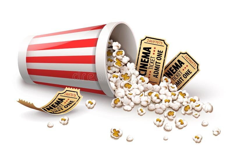 Popcorn in secchio di carta Biglietti pieni del cinema dell'oro e della tazza Illustrazione di vettore illustrazione di stock
