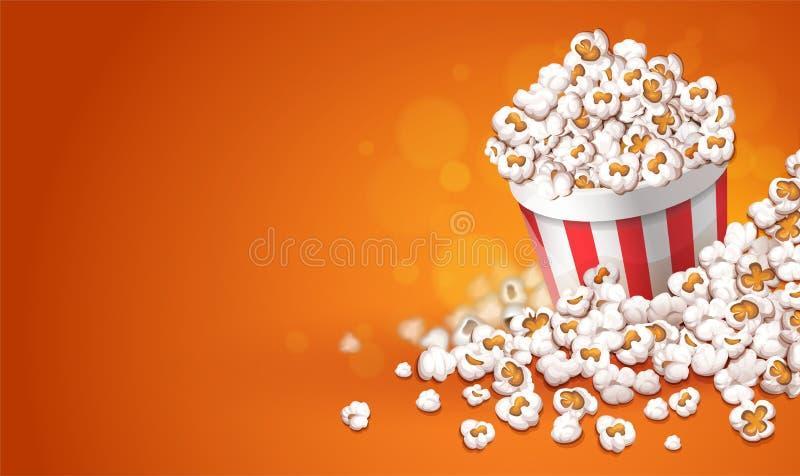 Popcorn in secchio di carta Concetto online del cinema di film Illustrazione di vettore illustrazione di stock