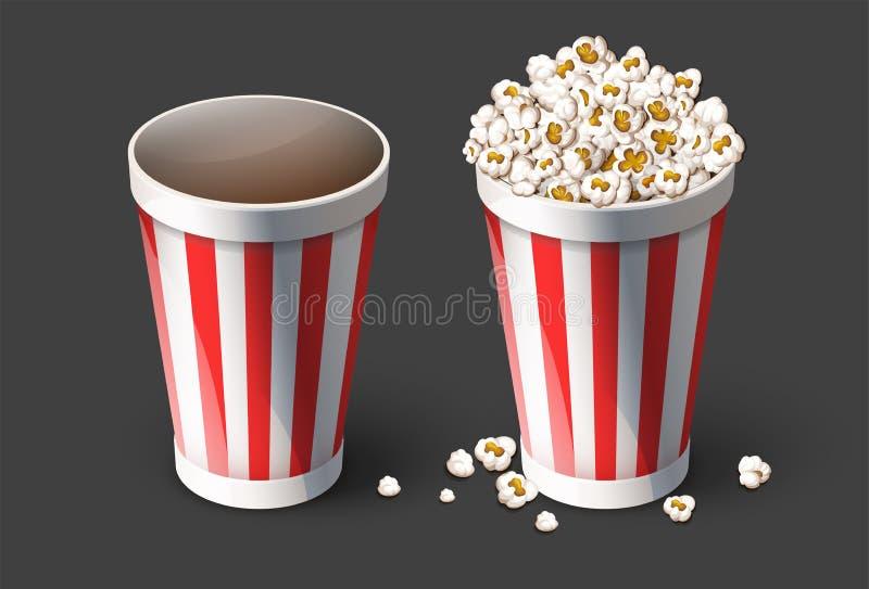 Popcorn in secchio di carta Tazze vuote e piene Illustrazione di vettore illustrazione vettoriale