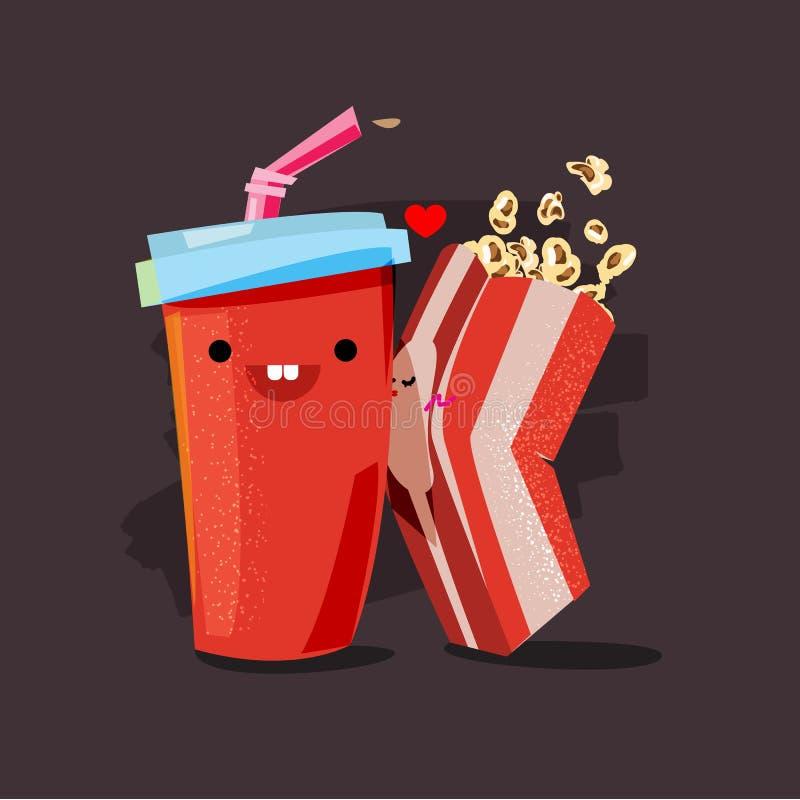 Popcorn and soda. character of popcorn kissing soda cup. movie l stock illustration