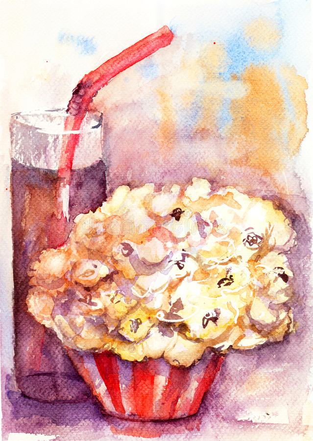 Download Popcorn and soda drink stock illustration. Image of painting - 25709385