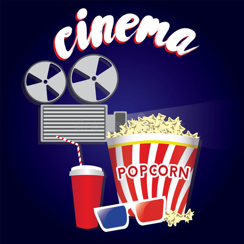 Popcorn, soda glass, glasses and a movie projector in a flat style. Cinema. Popcorn, soda glass, glasses and a movie projector in a flat style. Vector stock illustration