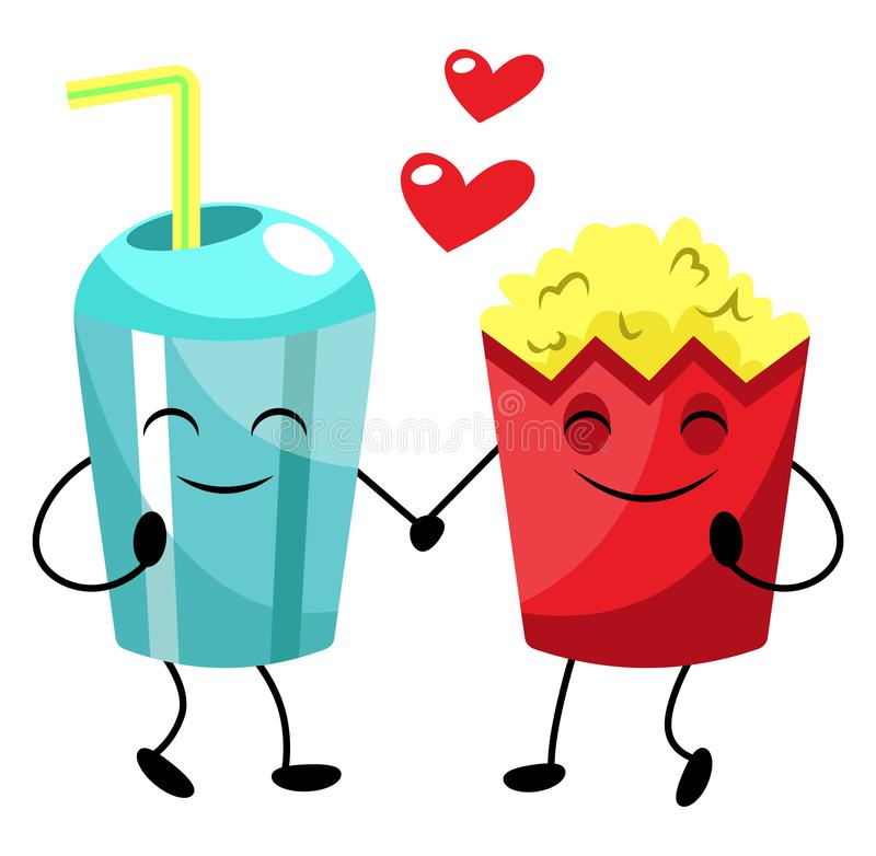 Popcorn and soda in love illustration vector royalty free illustration