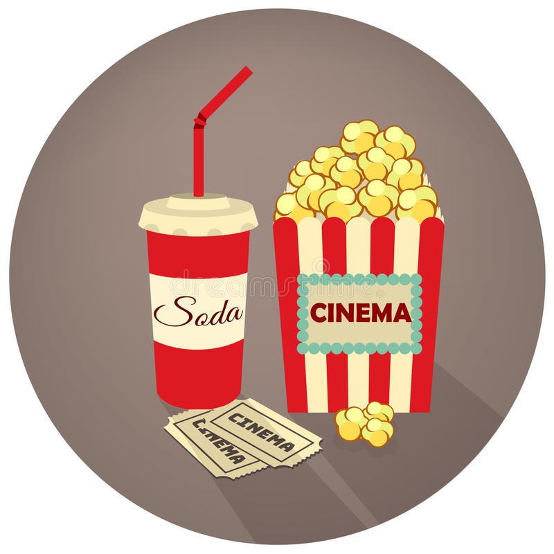 Popcorn, soda takeaway and movie tickets. Vector illustration in retro style on a dark background. stock illustration