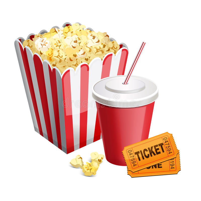 Popcorn with soda and tickets on white stock illustration
