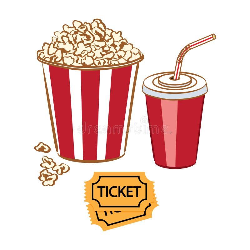 Popcorn, sodavatten och biljetter Ð-¡ inema, film stock illustrationer