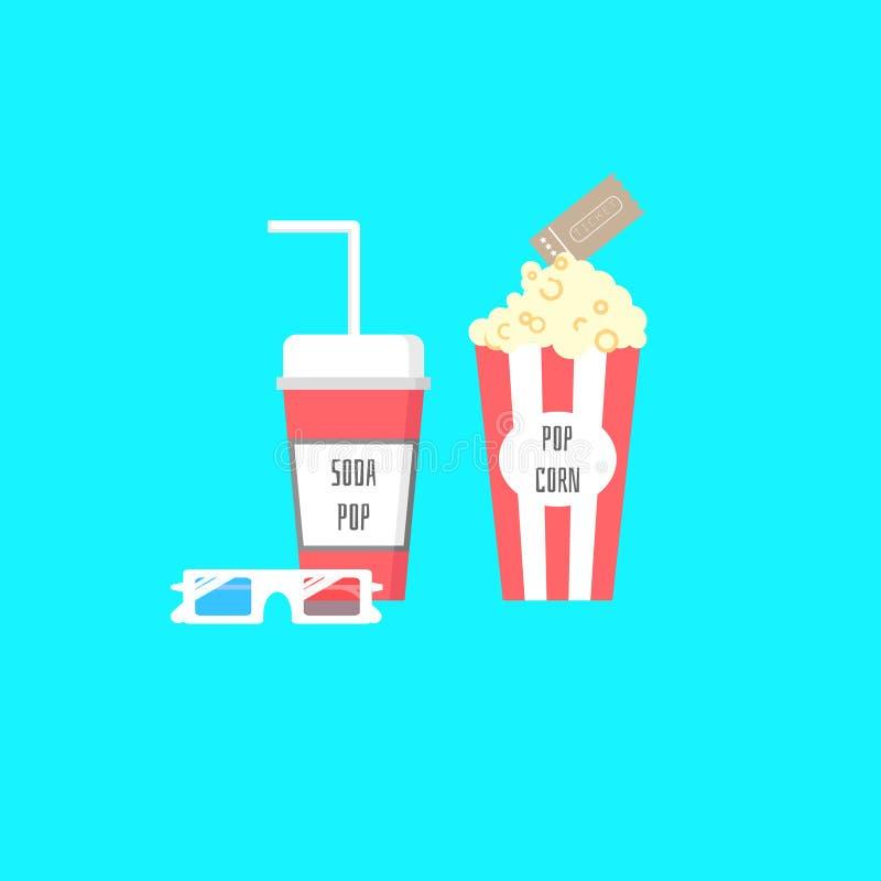 Popcorn, sodavattenpop, biljett och exponeringsglas 3d royaltyfri illustrationer