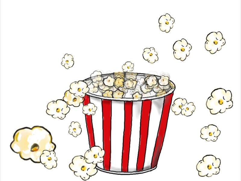 Popcorn som poppar teckningsfärg stock illustrationer