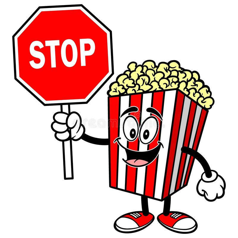 Popcorn with Stop Sign. A vector illustration of a Popcorn with Stop Sign stock illustration