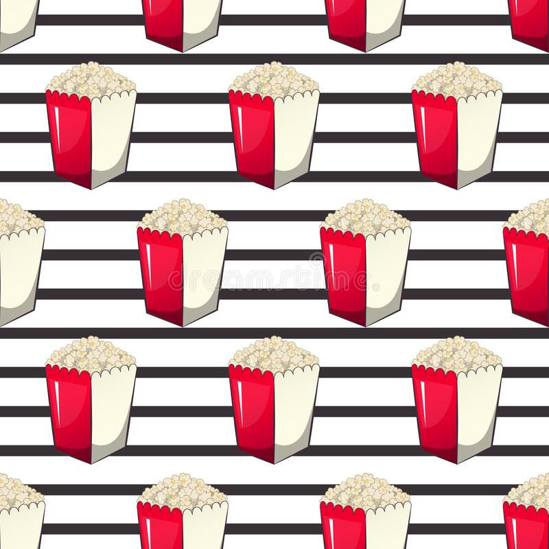Popcorn is in a strip wrapper box for your produce, an appetizer bucket when you watch movies. Pattern vector illustration