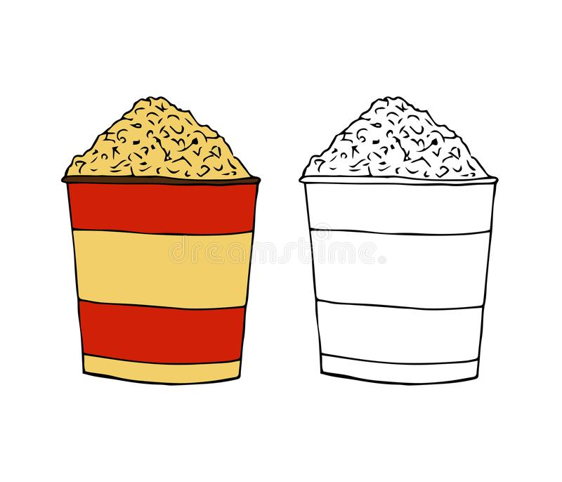 Popcorn in a striped box.A bucket of pop-corn.hand drawn vector royalty free illustration