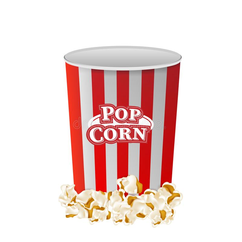 Popcorn with striped bucket box isolated on white background. Flat vector illustration EPS 10 vector illustration