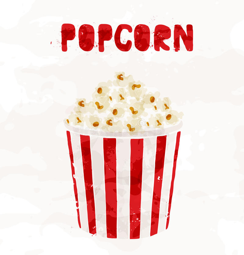 Popcorn in striped bucket on white background stock illustration