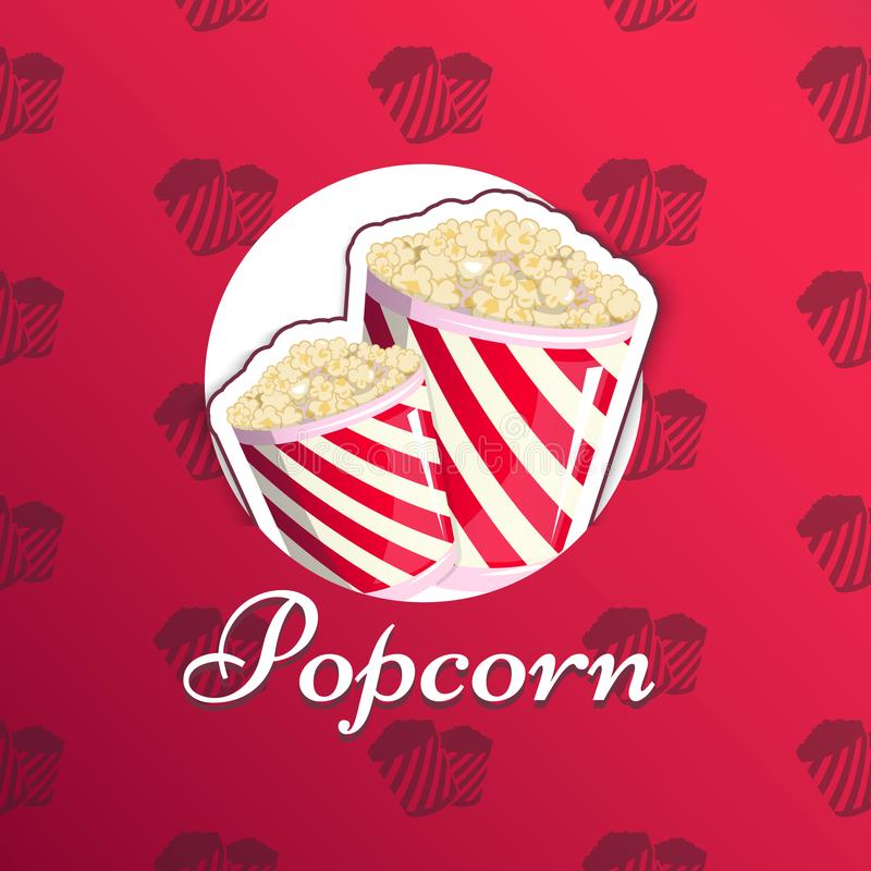 Popcorn is in a striped logo logo emblem for your produce, an appetizer bucket when you watch movies. Label vector illustration