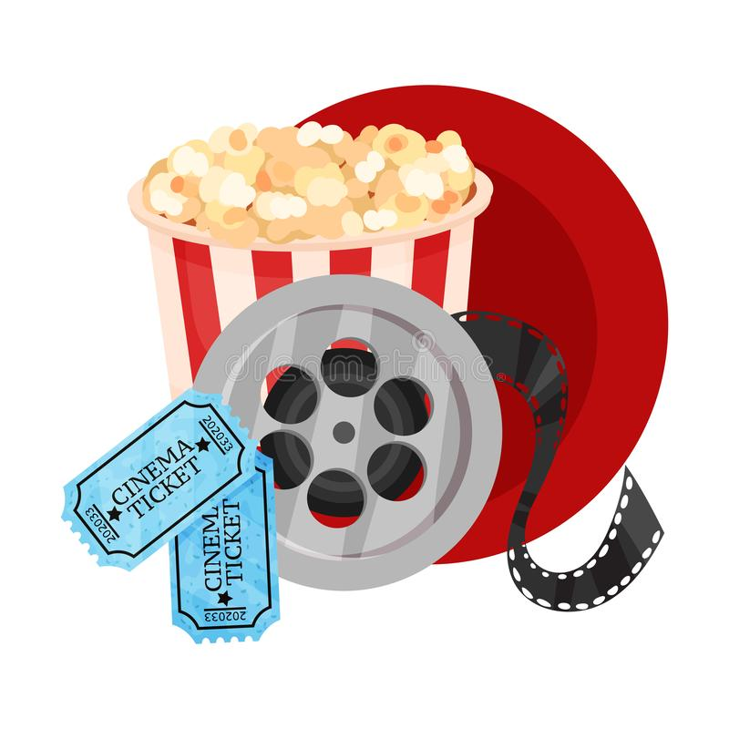 Popcorn in a striped paper bucket, a film roll and tickets in a dark red circle. Vector illustration on a white. Popcorn in a striped paper bucket, a film roll vector illustration