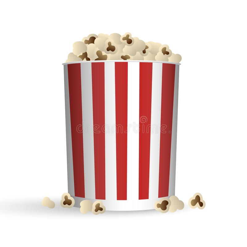 Popcorn in striped red and white bucket, vector illustration stock illustration