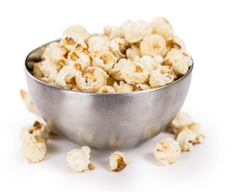 Popcorn su bianco fotografie stock libere da diritti