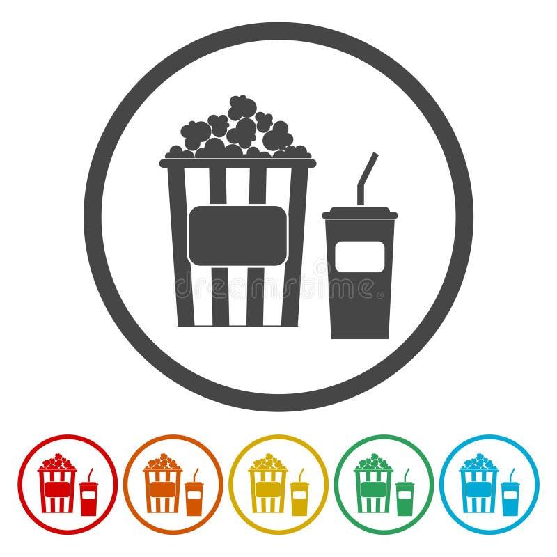 Popcorn Symbol för biorundacirkel royaltyfri illustrationer