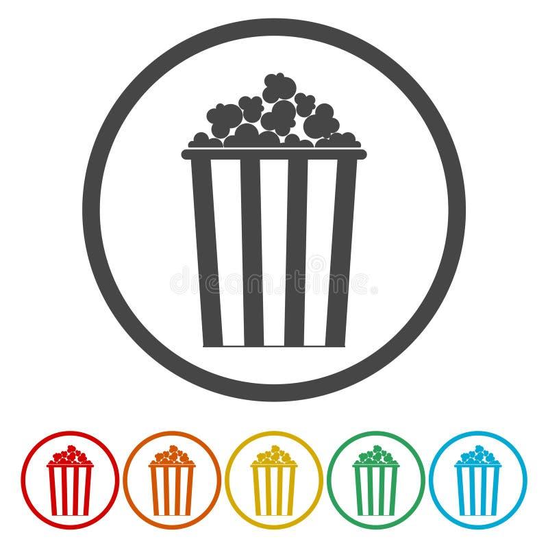 Popcorn Symbol för biorundacirkel stock illustrationer