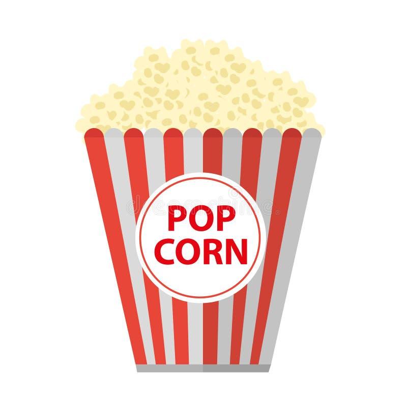 Popcorn symbolslägenhet, tecknad filmstil bakgrund isolerad white Vektorillustration, gem-konst vektor illustrationer