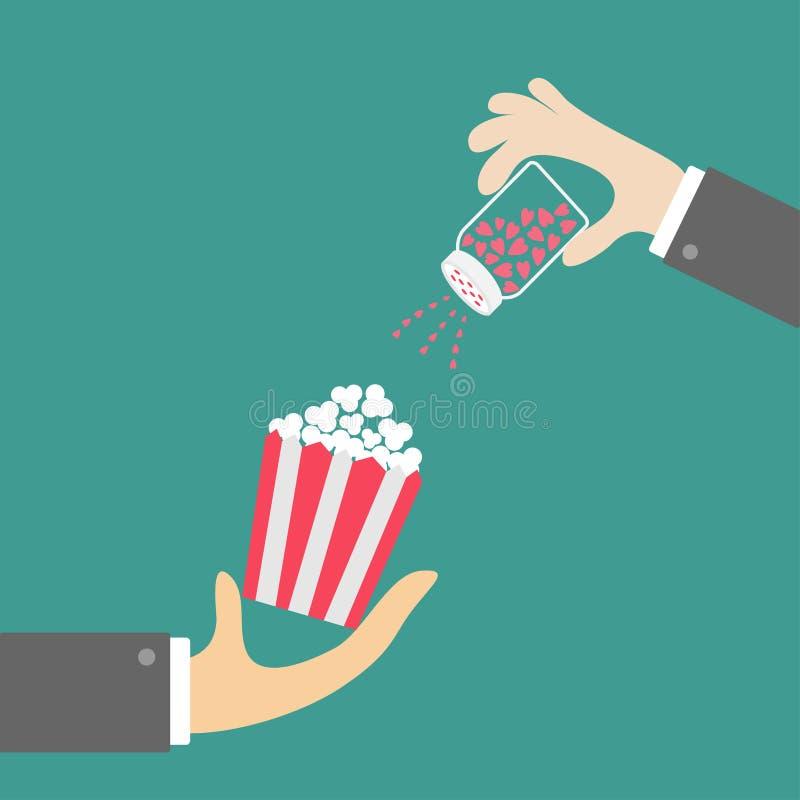 Popcorn tecken för hand för gruppaffärsmankontroll Salt shacker med hjärtor Biosymbol i plan designstil stock illustrationer