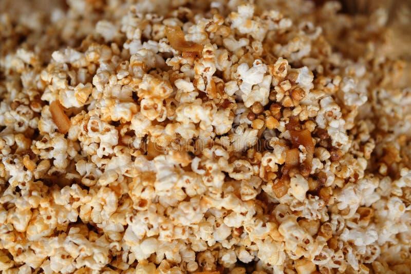 Popcorn texture background, sweet caramel popcorn royalty free stock image