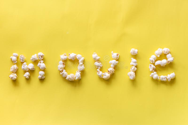 Popcorn pattern on background. Top view royalty free stock image