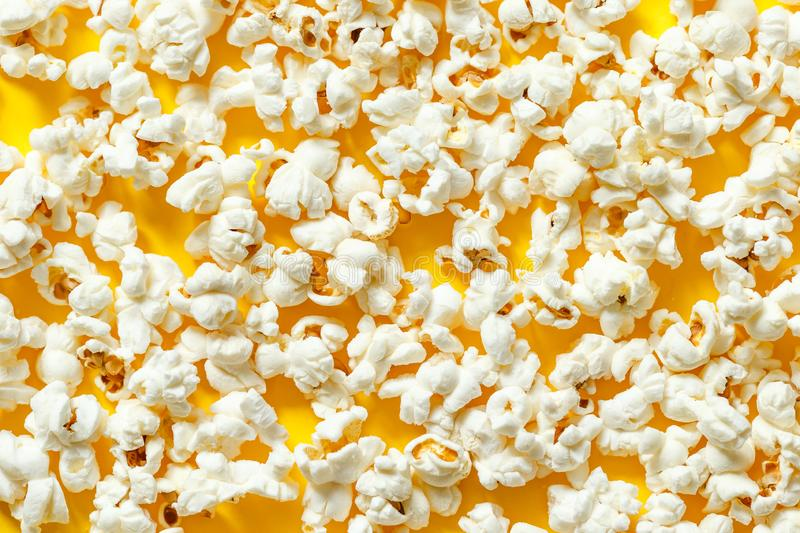 Popcorn texture top view. pattern of popcorn close up, background stock photography