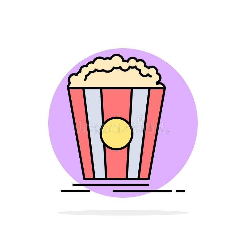 Popcorn, Theater, Film, van de Achtergrond snack Abstract Cirkel Vlak kleurenpictogram vector illustratie