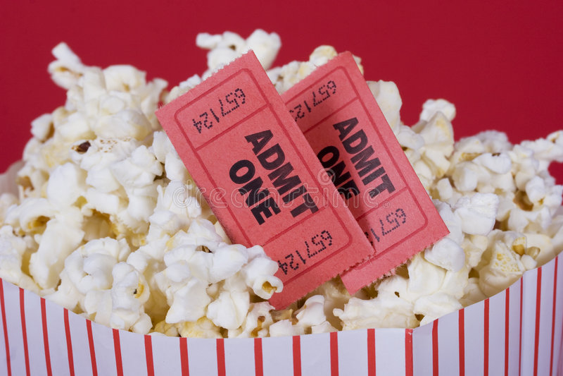 Popcorn And Tickets Stock Photo