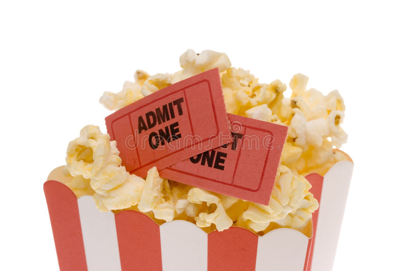 Popcorn And Tickets Stock Images
