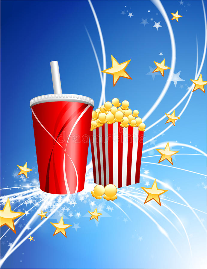 Popcorn und Soda auf abstraktem modernem hellem Hintergrund lizenzfreie abbildung